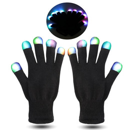 Wholesale HOT Festival Flash Color changing LED Glove Rave light led finger light gloves light up glove For Party favor music concert f