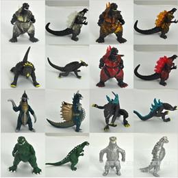 2017 películas de acción Wholesale-10Pcs / Escenario de película Godzilla figura de acción de juguete Recoger juguete de PVC de 8 cm de alta calidad de dinosaurio del monstruo juguetes de la muñeca películas de acción Rebaja