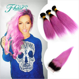 New Style Products Ombre 1B Pink 8A Brazilian Hair With Closure Straight Human Hair 1B Pink Two Tone 4Pcs Lot Omber Hair Extensions