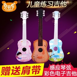 Wholesale Bevenlo inch electronic children s small guitar musical instrument with strings of lights straps can play Kyrgyzstan gift