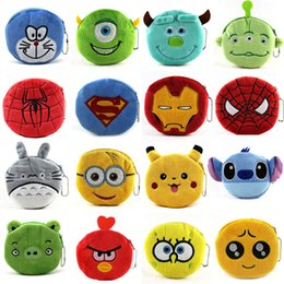 Wholesale 50 Styles Cartoon Coin Bag Plush Kids Purse Cute Spiderman Ironman Bags QQ Expression Coin Purses lovely Emoji Coin Bag Kids Purses