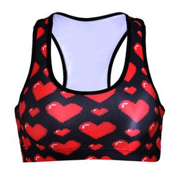 Wholesale 2016 Hot New Women Athletic Sports Bras Crop Tops Seamless Racerback Padded Vest Gym Heart Style ropa yoga mujer