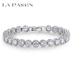 LA PASION brand Womens Tennis Bracelet With 31pcs 0.25 Ct Top Quality Cubic Ziconia New Fashion Bracelets Two Size Choice Jewelry