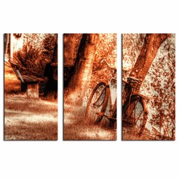 Wholesale LK3214 Panels Old Rusty Vintage Bicycle Abandon Near Trees Wall Art Modern Pictures Print On Canvas Paintings For Home Bar Hub Hotel Rest