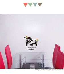 Wholesale Self Adhesive Wall Time - I miss you all the time for room decorate child and bear cartoon stickers small wall stick DIY Art wall Decor K11