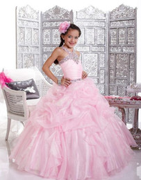 Wholesale Pink Toddler Pageant Dresses Crepe Ball Gown Beaded Crystals Straps Beauty Pageant Dresses Zipper Back