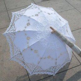 Wholesale New Lace Umbrella Cotton Embroidery White Battenburg Lace Parasol Umbrella Wedding Umbrella Decorations QAZ268