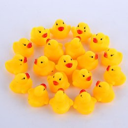 High Quality Baby Bath Water Duck Toy Sounds Mini Yellow Rubber Ducks Bath Small Duck Toy Children Swiming Beach Gifts EMS shipping