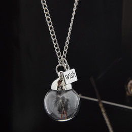 Dandelion Real Seed Glass Bulb Wish Necklace, Dandelion Seed Necklace Dandelion Necklace Make A Wish free shipping