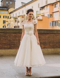 1950s Vintage Ankle Length Wedding Dresses Cap Sleeve Jewel Neck Flower Belt A Line Lace Short Bridal Gowns Custom Made