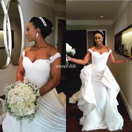Custom Made Lace Applique Pearl Bead Mermaid Gorgeous Wedding Dresses Straps Sexy Bridal Gowns Detachable Train Vestidos De Festa 2020