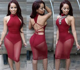 Wholesale Fashion Sexy red mesh dress bandage Dresses Sexy Club Dress backless bodycon Night Club Wear Party Dress Vestido