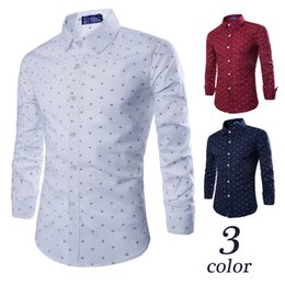Wholesale New European and American All match Mens Anchor Printing Long Sleeve Shirt Colors Plus Size M L XL XXL XXXL