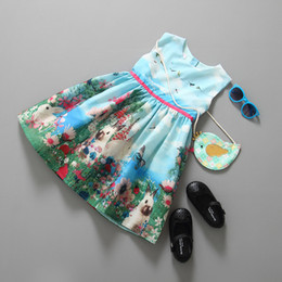 Brand rabbit flower girl's dress children summer sundress floral printing baby girl boutique clothes kids clothing top quality