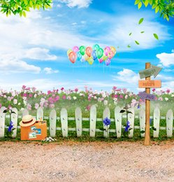 Flowers Field Fence Road Sign 5X7ft Vinyl Backdrops Computer Printed Children Wedding Photography Backgrounds Photo Backdrop