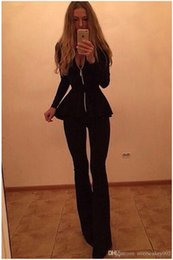 Wholesale Womens Sexy Night Club Suit Black Flare Pants Deep V Neck Zipper Front Tops with Sash Pieces Ok