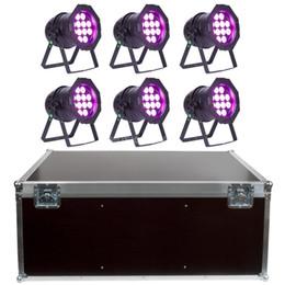 Free shipping 6 PAR Lights High quality 12x18W RGBAW UV 6in1 LED SPOT PAR64 POLISH PAR Light with Flight case