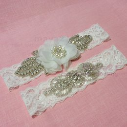 Rustic Lace Wedding Garter Sets Beaded Flower Wedding Garter Set Personalized Wedding Garter For Bridal Leg Accessories Set Of Two Brand New