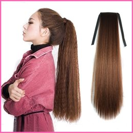 Wholesale Woman Puffs Human Similar Hair Drawstring Ponytails Clip in Straight Ribbon Long Ponytail Hair Extension cm inch Hairpiece