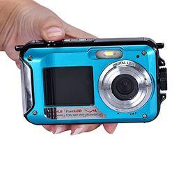 Wholesale 2016 Blue Full HD camera Double Screen Waterproof Camera MP x Digital Zoom Dive Camera BU LXL50916001