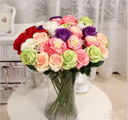 10pcs lot Rose Artificial Flowers Silk Flowers Floral Latex Real Touch Rose Wedding Bouquet Home Party table decoration Design Flowers