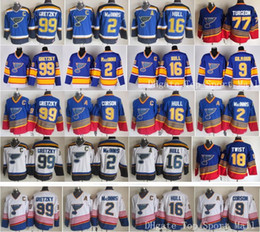 Wholesale Throwback St Louis Blues Jerseys Ice Hockey Retro Brett Hull Wayne Gretzky AL MacINNIS Shayne Corson Doug Gilmour