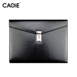 Wholesale Cagie Vintage A4 Black Leather Padfolio Men Business Management Contract Password Lock Document Bag Manager File Folder