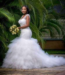 Arabic Style Plus Size Mermaid Wedding Dresses 2016 V Neck Beaded Tiered Ruffles Wedding Gowns Chapel Train Corset Back Beach Bridal Dress