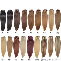 Descuento marrón recta armadura brasileña del pelo Cabello recto brasileño de 30 colores 16