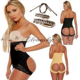 Wholesale Sexy Ladies Black Beige Lace Thong High Waist Control Panties Women Waist Training Corsets Cincher Body Shaper Butt Lifter Lingerie M181