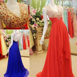 Wholesale Sexy Black Shirt Holes - 2016 Hot V-Neck Chiffon Prom Dresses Beaded Crystals Hole Back Floor-length Formal Party Evening Dress Gowns