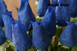 Wholesale 120pcs MOQ blue artificial flowers Fresh Real Touch rose Bud royal blue wedding decorations and bouquet