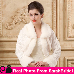 Wholesale Cheap Ruffle Coat - Cheap In Stock Ivory Bridal Wraps Wedding Party Bridesmaid Jackets for Brides Bridesmaid Cover up Capes Coat Shrug Shawl Bolero Long Sleeve