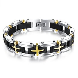 """Men's Cross Stainless Steel Silver Gold Religious Crucifix Crosss Silicone Mens Bracelet Chain Fashion Surfer Jewelry, 8.26"""""""