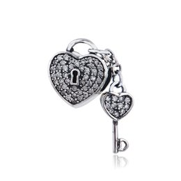 Wholesale Authentic Sterling Silver Bead heart with key Lock of love clear CZ Fits European Original Charm Bracelet Valentine Day gift