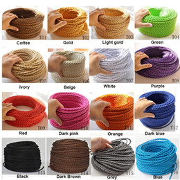 Wholesale-10m lot 2*0.75 Copper Cloth Covered Wire Vintage Style Edison Light Lamp Cord Grip Twisted Fabric Lighting Flex Electric Cable