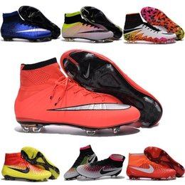 Wholesale New Indoor Kids shoes Magista Superfly FG Football Boots Mens High Ankle Soccer Cleats CR7 Superfly FG AG Original hypervenom II Blue