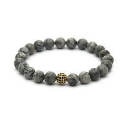 Snap Jewelry Wholesale 10pcs lot 8mm Grey Jasper Marble Stone Beads with Micro Pave Black Zircon Stretch Cz Beaded Bracelets