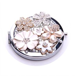 10Pcs Lot Pearl Flower Story Rhinestone MakeUp Mirror Stainless Steel Frame Double Sided Enlarge Mini Compact Mirror Wholesale