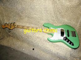 Guitarra de la mano izquierda verde en Línea-NUEVO verde zurda 5 cuerdas de la guitarra baja de arce fingerboardOEM envío libre de la guitarra
