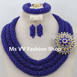 2018 royal blue nigerian African Wedding Beads Jewelry Set Dubai Indian Wedding Beads Set Christmas Costume Jewelry Set Free Ship