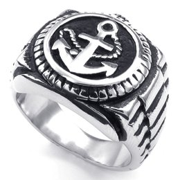 072347-Ring wholesale china Men's Stainless Steel Anchor Watch Nautical Ring, Width: 19mm US Size: 7-15