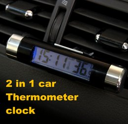 Wholesale Fashionable Car Air Vent Outlet Clip on LCD Digital electronic watch clock auto Thermometer temperature meter