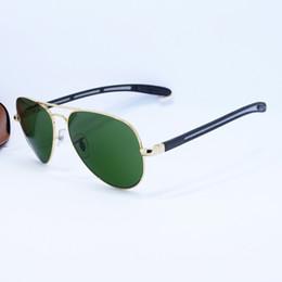 Wholesale 2016 Top Brand Pilot Sunglasses Men Women Gold Alloy Metal Frame Carbon Fibre Legs Gold Glass Gold Sun Glasses mm Original Case Box
