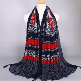 Winter fall Vougue fashion designer paisley women scarf with tassle factory selling directly big size navy color