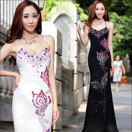 Designer Mermaid Black White Mermaid Evening Formal Dresses With Beading Crystal Halter Backless Occasion Runway Pricess Prom Pageant Gown
