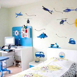 Wholesale 100pcs Helicopter Car Vehicle Kids room decor art baby bedroom wall sticker AY7027 home decals removable PVC home decoration