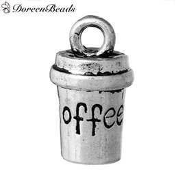 Wholesale Zinc Metal Alloy D Charms Cup Antique Silver Message quot COFFEE quot Carved mm quot x mm quot new jewelry maki