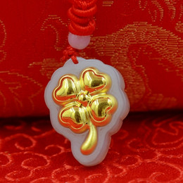 Wholesale Four-leaf clover style 4D gold Hetian jade Nephrite pendant natural jade fashion jewelry lockets charms