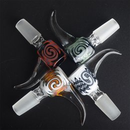 Wholesale Reversal GLASS BOWL COLOUR Barrel type with handle mixed color lines with mm or mm male joint
